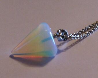 Opalite Gemstone Pendulum Necklace, October Birthday Gemstone, Opalite Necklace, Opal Necklace, Opal Pendant