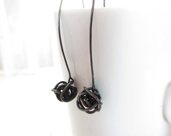 Lines Knotted Sterling Silver Long Drop Earrings - Oxidised
