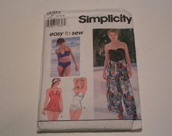 Simplicity Pattern 9085 easy to sew Miss Swimsuit and Wrap