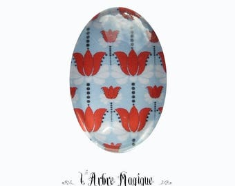 Cabochon oval red Tulip flower blue Ref84