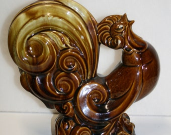 Crowing rooster figure; Rockingham glaze? Large rooster; farmhouse decor; kitchen display