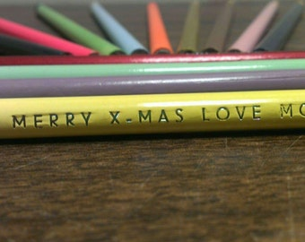Hand Stamped Customizable Pencils (set of 12 pencils)