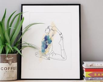 Affiche illustration pose de yoga
