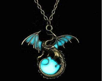 Steampunk Dragon Glows In The Dark Necklace