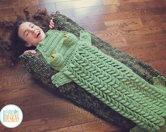 CROCHET PATTERN Snappy Simon Crocodile Sleeping Blanket Bag PDF Crochet Pattern with Instant Download
