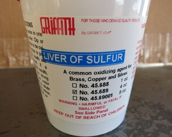 Liver of Sulfur, Dry 4 oz, Use for Oxidizing Copper, Brass, Sterling Silver