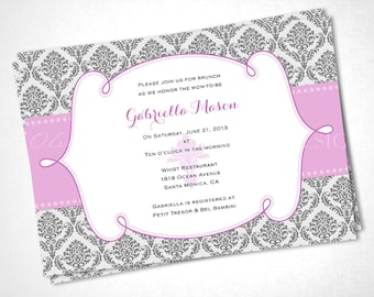 Damask Ribbon Baby Shower Invitation - Pink - DIY Printable
