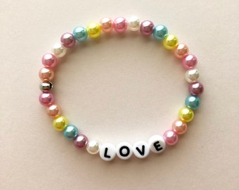 Love Bracelet, Fairy Kei Bracelet, Gifts For Teens, Pastel Jewelry, Rainbow Bracelet, Kawaii Bracelet, Pastel Goth, Fairy Kei Jewelry