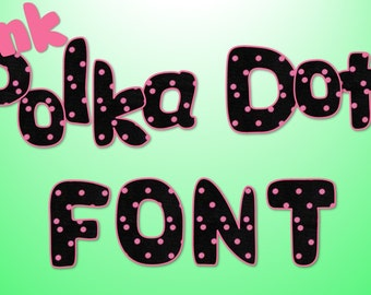 Black with Pink Polka Dot alphabet clipart digital download!  For personal or commercial use.