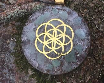 Seed of Life Aquamarine & Rose Quartz Orgone Pendant