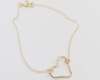 Hammered Heart Bracelet/Necklace