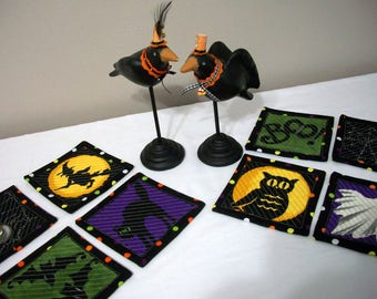 Quilted Hallowen Coasters Set of 8 Quiltsy Handmade FREE U.S. Shipping