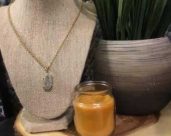 Grey & Gold Gemstone Necklace 14K