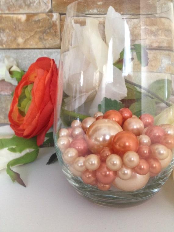 Peach Coral Orange Pearls 80pc Mix Jumbo Pearls Vase Fillers