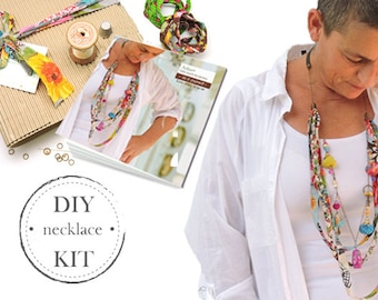 Jewelry Making Kit, DIY Jewelry Kit, Jewelry Kits, Making Jewelry, DIY Fabric Necklace