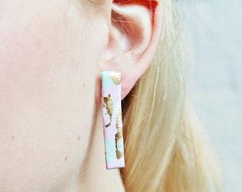 Rectangular Shaped earrings, Gold Stud Dangle Earrings, Polymer Clay Earrings, Four Tone pink, gold, black & white, Cute flat bar earrings