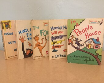 Five 1960s-70s Dr. Seuss Bright and Early Books for Beginning Beginners - Theo. LeSieg, Berenstain, Marvin K. Mooney, People House, Foot