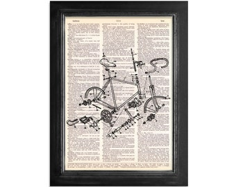Bicycle Assembly - Bike Art Print on Vintage Dictionary Paper - 8x10.5