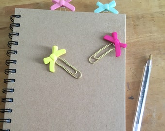 Bow journal clips, planner clips, paper clips, diary tags