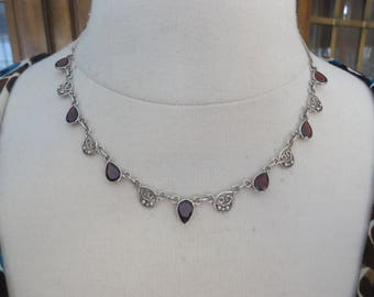 "Vintage 925 Sterling Silver Garnet and Filigree Necklace, 17 - 18"" Long, 12 Grams"