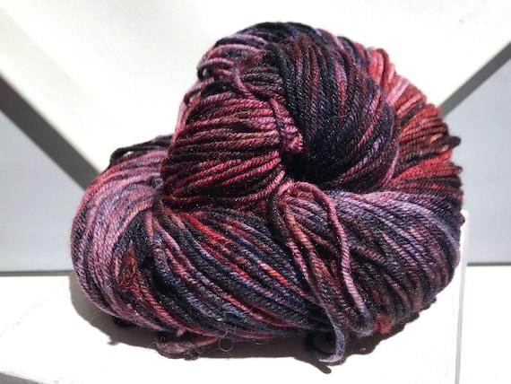 "Red Wine DK weight, handpainted yarn ""Bloody Mess "" shawl yarn sock, slate blue, pink, red, red-violet, navy, purple, wine, salmon"