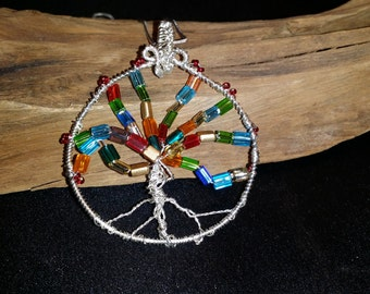 Rainbow Tree of Life wire wrapped pendant necklace