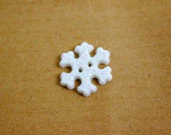 Glitter snowflake buttons, white glitter snowflake buttons, Frozen buttons, Christmas novelty buttons, winter buttons, white snow flakes, UK
