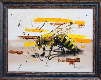 Original Acrylic Modern Bee Painting 40x30cm