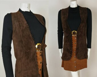 True Vintage 60s 70s Hippy Brown Suede Waistcoat Jacket with Gold Buckle 8