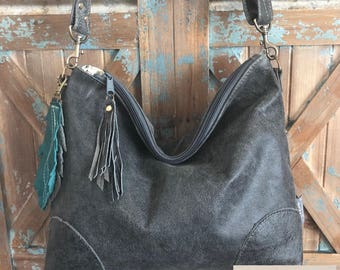 Made to Order Slouchy Genuine Buffalo Leather hobo w/ Feather & Crossbody Strap