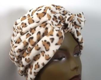 Micro fleece, fashion turban, hat, white, animal print,  full turban, winter, vintage style, designer. Sm, Med, L, XL. Free shipping in USA.