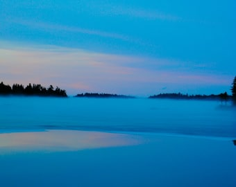 Lake Fog & Ice, Maine Photography, Maine lakes, East Machias Maine, Color Print, Maine Landscape Photography
