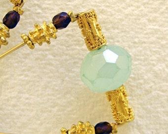 Chalcedony earrings Aqua Golden Bollywood style (no.120)