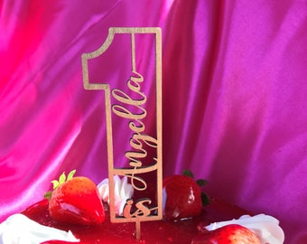 One Custom Name Cake Topper Birthday Cake Decoration Table Decoration Wooden Laser Cut