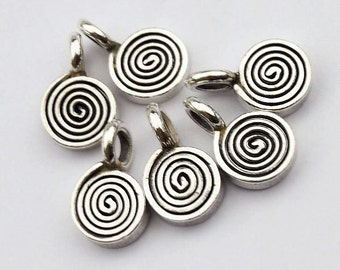 6 of Karen Hill Tribe Silver Swirl Charms 6 mm. :ka3419