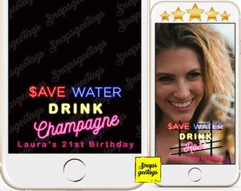 Snapchat Birthday Champagne , snapchat geofilters birthday, Snapchat filter birthday, Custom Snapchat Geofilter - Rose all day Geofilters 38