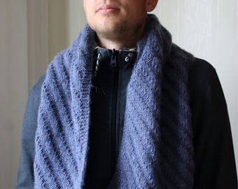 Knit Blue scarf For him Gift for men Clothing gift For husband Wool gift For him Soft scarf Warm scarf Winter accessory Modern accessory