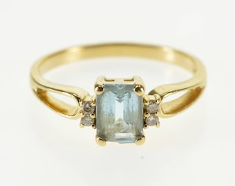 14k Emerald Cut Blue Topaz Diamond Accented Ring Gold