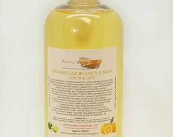 Organic Liquid Castile Soap, Lemon/Lime 100% Natural SLS Free 500ml