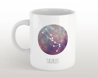 taurus mug - zodiac sign coffee mug with constellation & characteristics with galaxy background