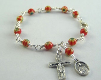 Red Saint Therese Rosary Bracelet with Millefiori Beads