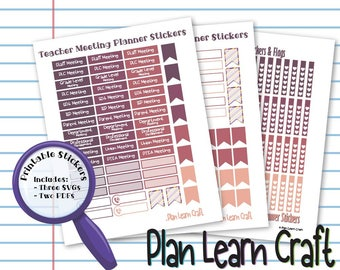 Teacher Meeting & Appointment Planner Stickers for Erin Condren Lesson Planner - Shades of Wine