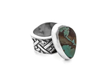 Royston Turquoise and Sterling Silver Ring, Silver and Turquoise Ring, Genuine Royston Turquoise, Turquoise Ring, One of a Kind, Handmade