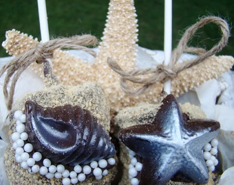 Edible Seashell Chocolate Covered Marshmallow JUMBO Gourmet Marshmallow Pops Smores Favors  Luau Party Favor Beach Wedding Favor Rustic