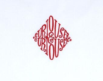 "Curiouser & Curiouser 3"" diamond 4x4 machine embroidery design"