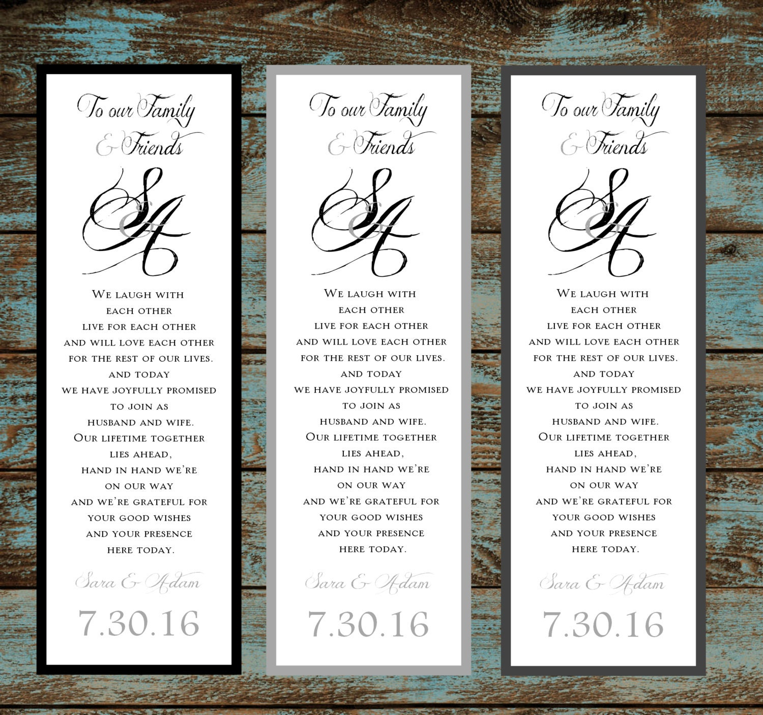 Monogam with Ampersand 100 Wedding personalized and printed ...