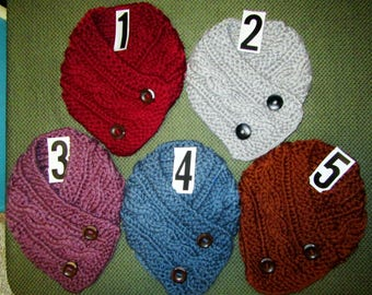One Thick Warm Cable Knit Button Scarf Choose Color  (#52)