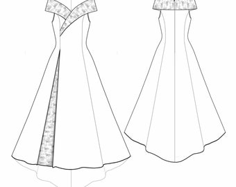 Lekala 5530 - Dress Sewing Pattern PDF Download, S-M-L-XL or Free Made to Measure Personalization, Royalty Free Personal or Commercial Use
