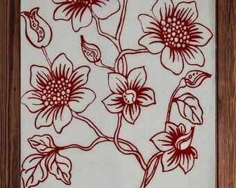Vine Flower Tea Towel