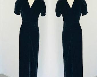 Vintage 1930's Black Silk Velvet Maxi Dress l S